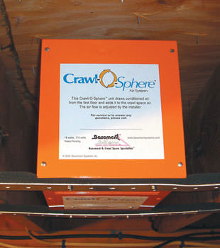 A ventilation fan installed for a crawl space in Clymer