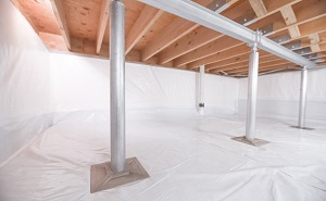 Crawl space structural support jacks installed in Kersey