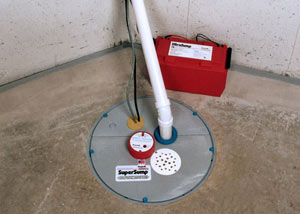 A sump pump system with a battery backup system installed in Cuba