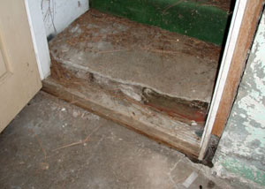 A flooded basement in Emporium where water entered through the hatchway door