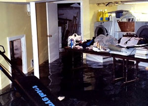A laundry room flood in Ridgway, with several feet of water flooded in.