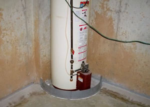 A water heater in Homer City that's been protected by the FloodRing® and a perimeter drain system.