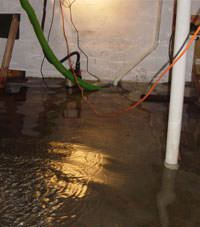 Several feet of floodwaters in a Clymer basement