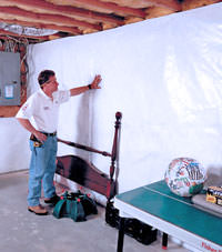 Plastic 20-mil vapor barrier for dirt basements, Clarion, Pennsylvania and New York installation